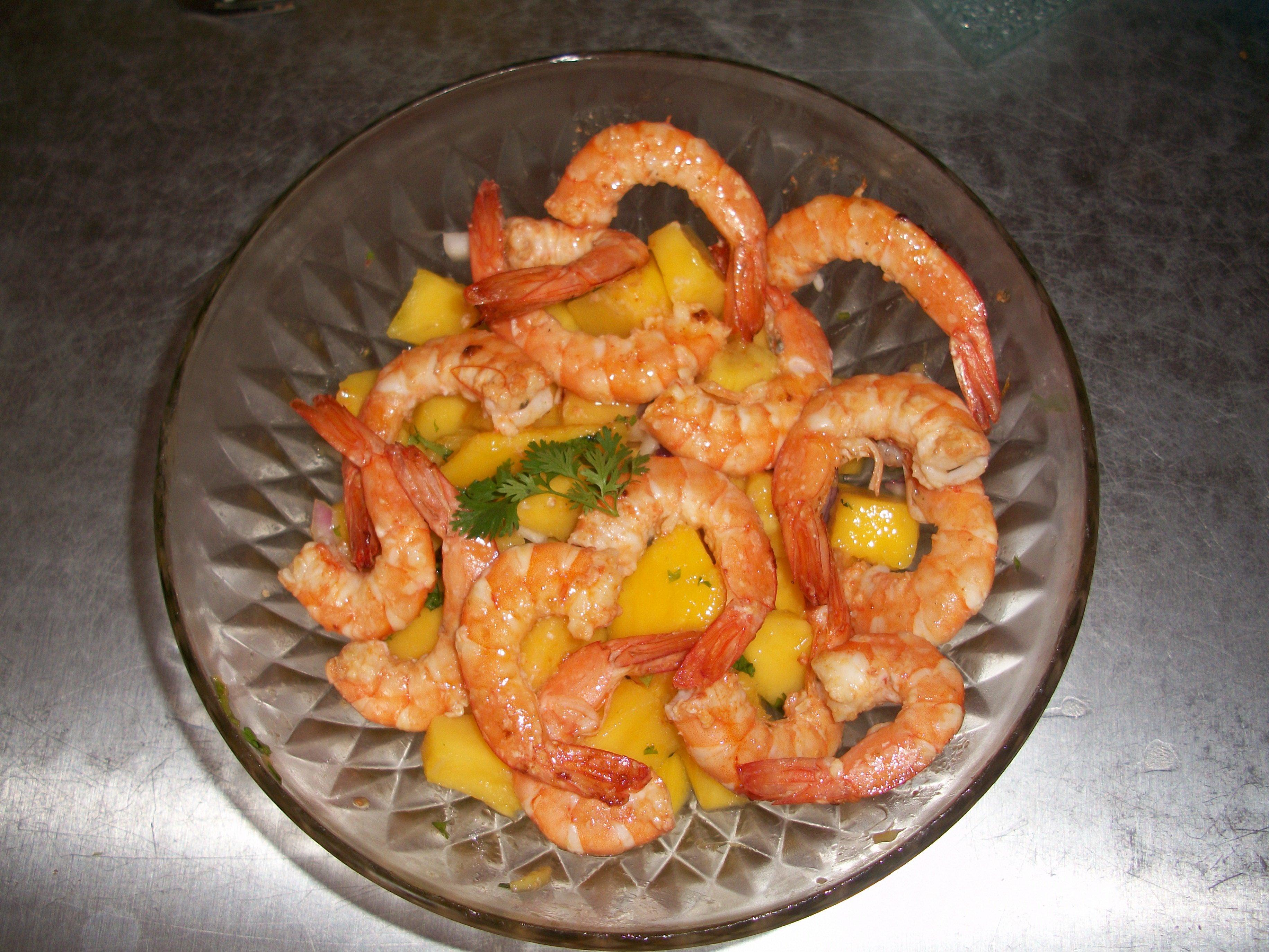 La cuisine de christine salade de gambas a la mangue for La cuisine de christine